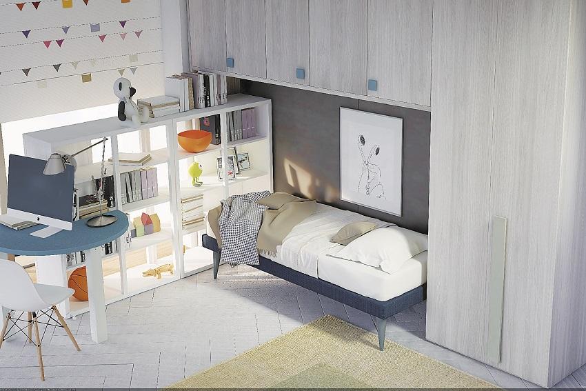 Soluzione di cameretta per bambini a ponte con libreria retroletto e scrivania integrata